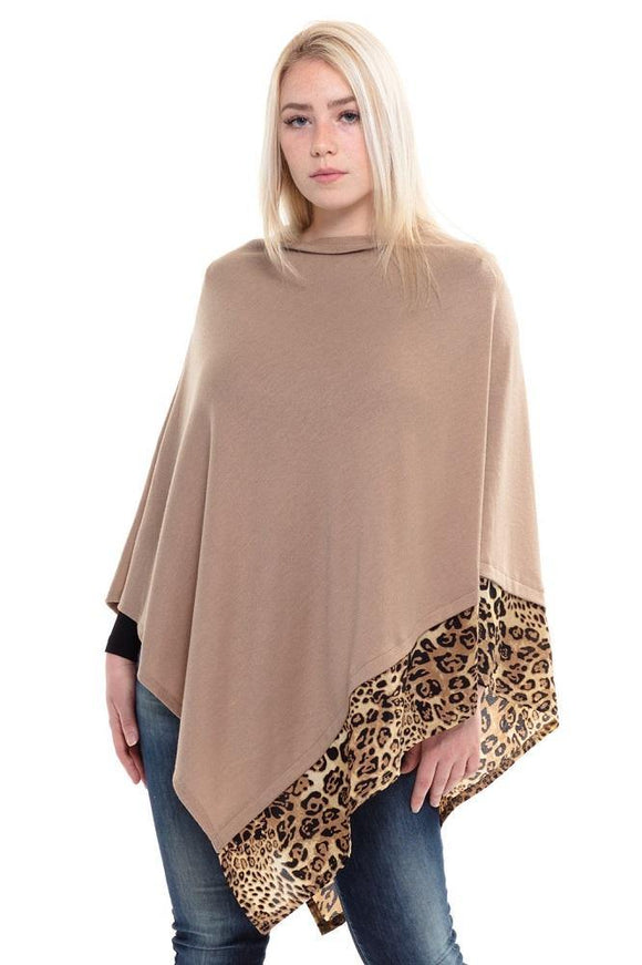 ALL YEAR ROUND LEOPARD TRIM SOLID TAUPE PONCHO ( 0089 TP )