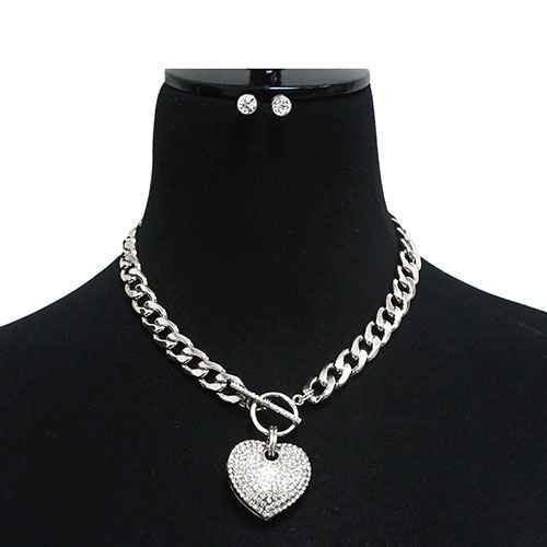 Large Silver Rhinestone Puffy Heart Charm Toggle Necklace ( 7075 S )