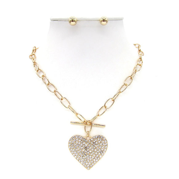 GOLD NECKLACE SET HEART PENDANT CLEAR STONES TOGGLE ( 9186 )
