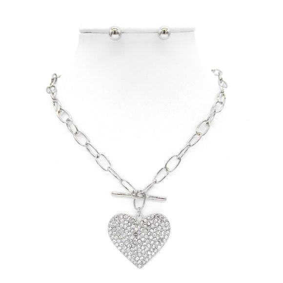 SILVER NECKLACE SET HEART PENDANT CLEAR STONES TOGGLE ( 9186 )
