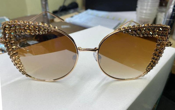 GOLD TOPAZ Swarovski Stones Fashion Sunglasses UV 400 ( 1179 TOP )