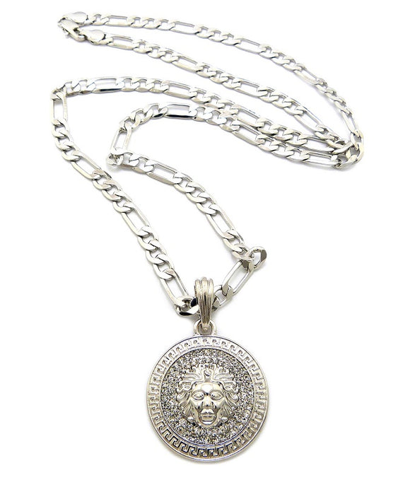 White Gold Plated Rope Chain with Crystal Greek Medusa Head Pendant ( 360 )