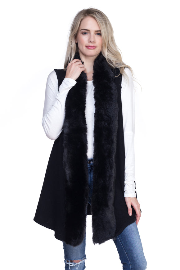 BLACK FLUFFY FUR TRIMMED VEST ( 0004 )
