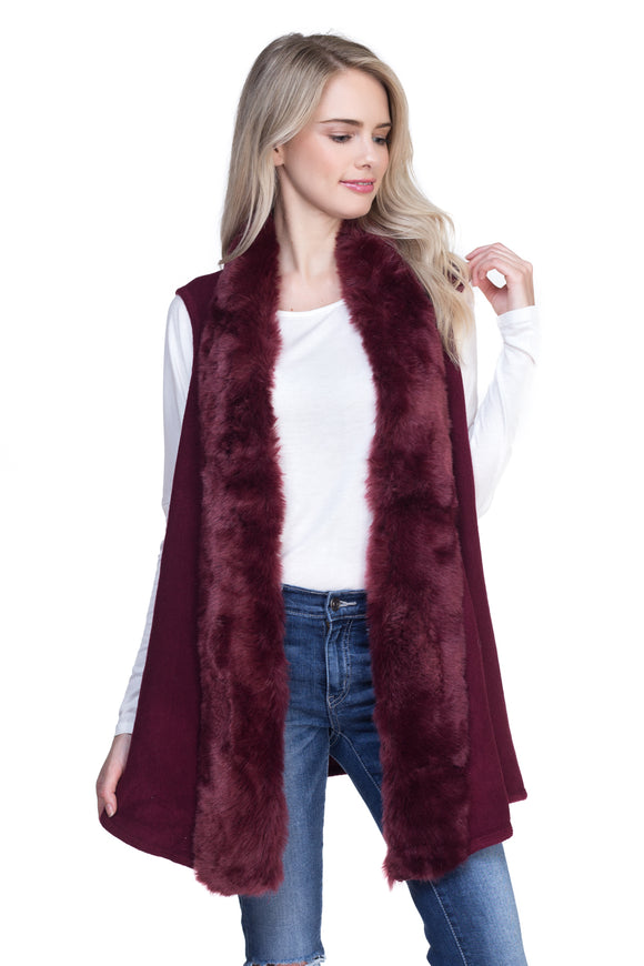 BURGUNDY FLUFFY FUR TRIMMED VEST ( 0004 )