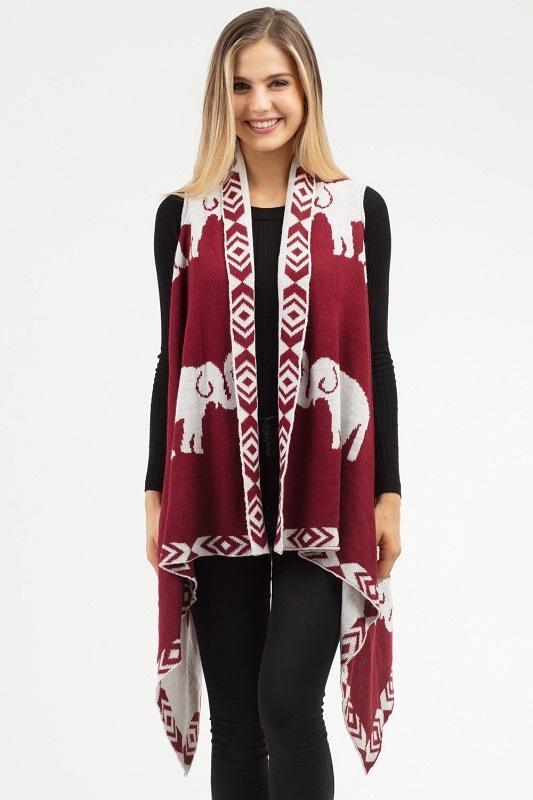 Geometric Trim Burgundy Red and White Elephant Vest ( 0021 BU )