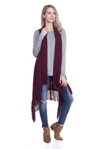 Burgundy Red Solid Fringe Knit Vest ( 0006 )