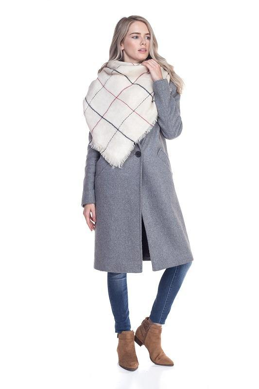 Ivory Soft Color Block Plaid Blanket Scarf ( 0014 )