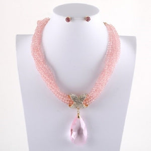 Rose Pink Crystal Beaded Necklace with Large Teardrop Pendant ( 7052 GDROS )