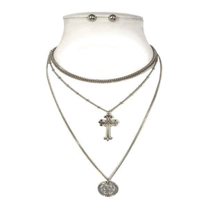 Simple 3 Layer Silver Chain with Cross and Roman Coin Charms ( 8514 )
