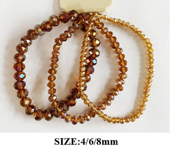 3 BROWN AB CRYSTAL STRETCH BRACELETS ( 83476 )