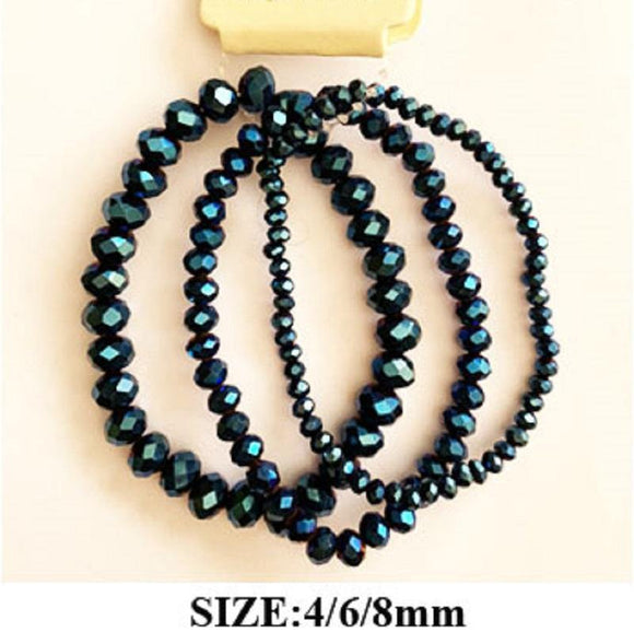 3 METALLIC BLUE CRYSTAL STRETCH BRACELETS ( 83476 )