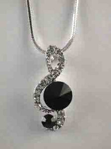 Rhodium Plated Silver Necklace with Black and Clear Rhinestone Music Note Charm ( 6331 )