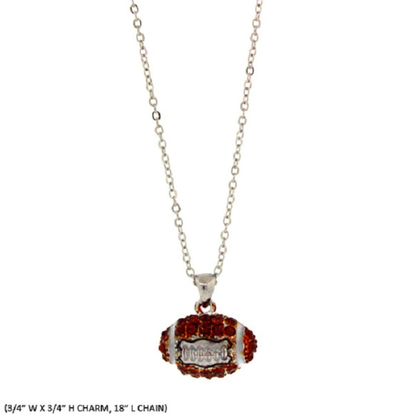 Brown Rhinestone Football Charm Necklace ( 1345 )