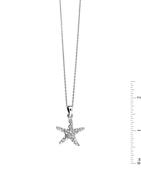 Silver Clear Rhinestone Starfish Charm Necklace ( 1430 )