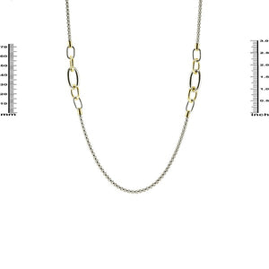 "34"" Two Tone Rhodium Plated Linked Necklace ( 2760 )"