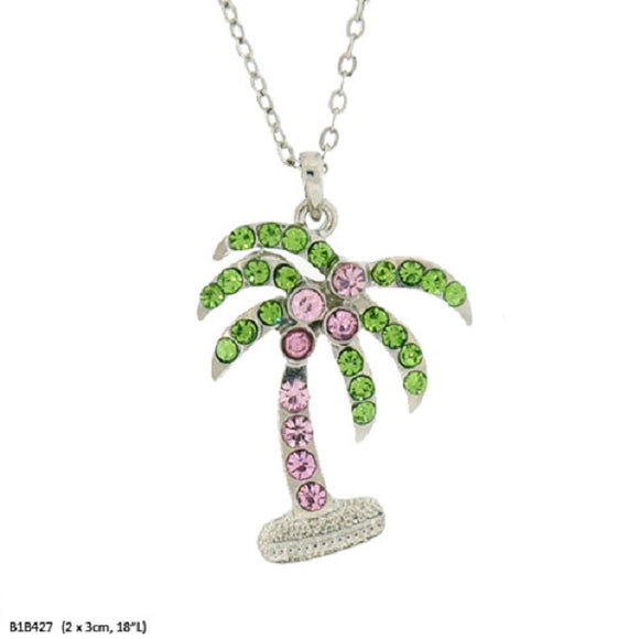 Pink and Green Rhinestone Palm Tree Charm Necklace ( 6789 )