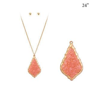 "24"" Gold Necklace with Morrocan Design Pink Glitter Pendant ( 7177 )"
