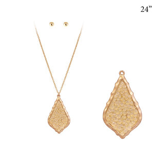 "24"" Gold Necklace with Morrocan Design Topaz Glitter Pendant ( 7177 )"