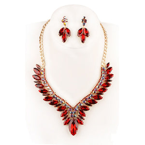 GOLD NECKLACE WITH RED RHINESTONES AND MATCHING EARRINGS ( 34 )