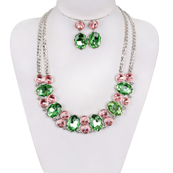 SILVER NECKLACE SET WITH PINK AND GREEN STONES ( 59 )
