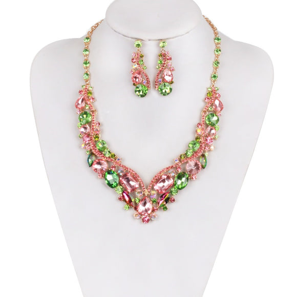 GOLD NECKLACE SET WITH GREEN AND PINK STONES ( 990 )