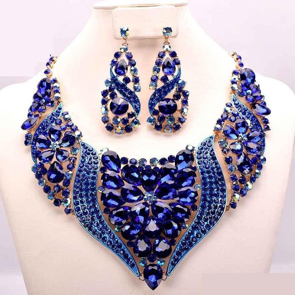 GOLD NECKLACE WITH BLUE STONES AND EARRINGS ( 10291 )