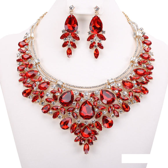 GOLD RED CLEAR TEARDROP AND MARQUISE RHINESTONE NECKLACE SET ( 7133 )