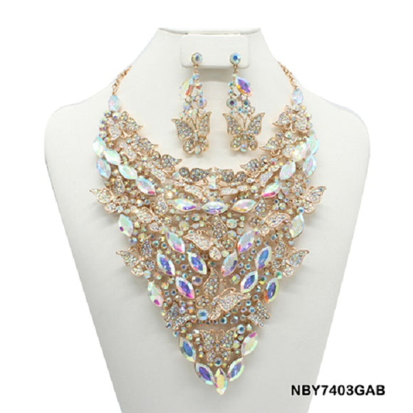 Gold Accent Necklace with AB Butterfly and Marquise Rhinestones and Matching Earrings