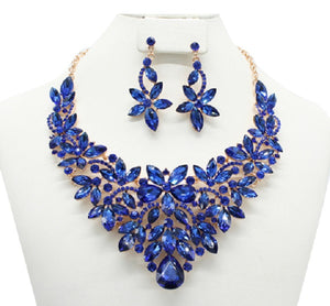 Gold Royal Blue Rhinestone Flower Design Necklace with Earrings