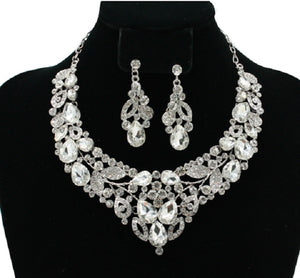 Silver Formal Necklace Set with Clear Stones and Matching Earrings