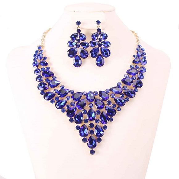 Royal Blue Rhinestone Formal Necklace Set in Gold Setting ( 7860 )