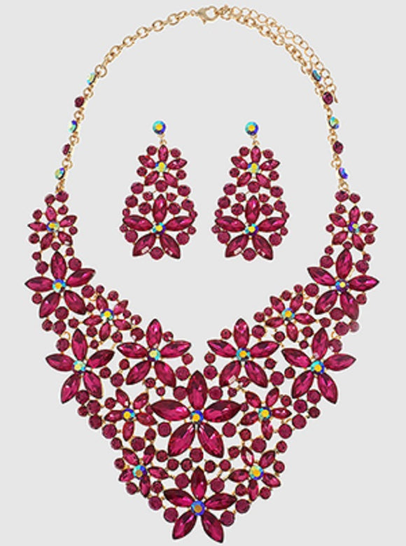 GOLD NECKLACE SET WITH FUCHSIA PINK MARQUISE FLOWER DESIGN ( 5038 )