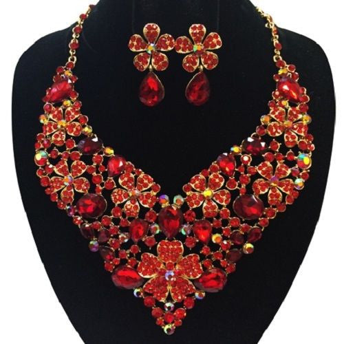 Red Flower Pattern Evening Formal Necklace Set