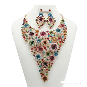 Multi Color Rhinestone Spiral Flower Design Necklace with Earrings