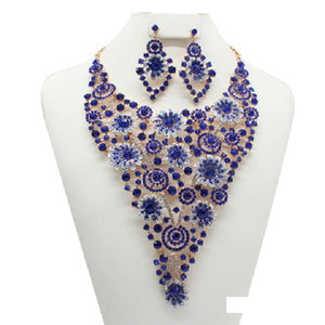 Royal Blue Spiral Flower Design Necklace with Earrings