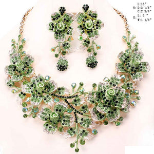 Gold Green Floral Rhinestone Evening Formal Necklace Set ( 8423 )