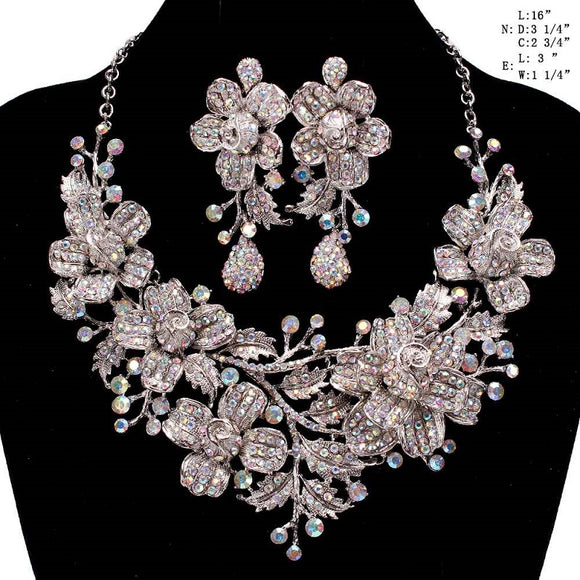 Silver AB Floral Rhinestone Evening Formal Necklace Set ( 8423 )