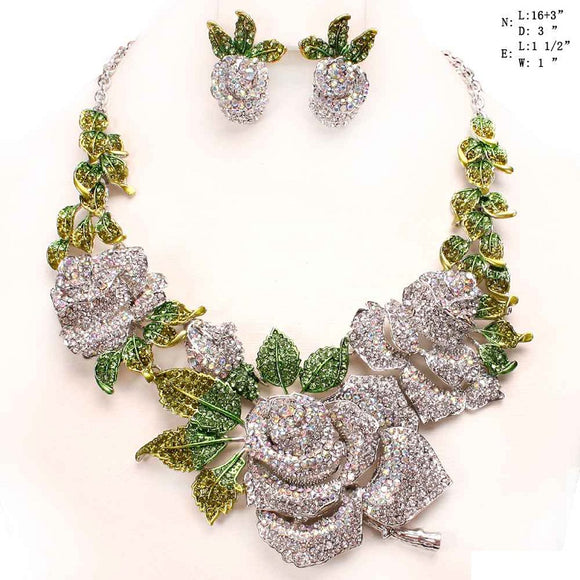Silver Clear and AB Rose Flower Rhinestone Evening Formal Necklace Set ( 8863 )