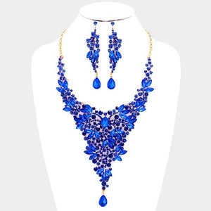 Long V Design Blue Stone Evening Formal Necklace Set