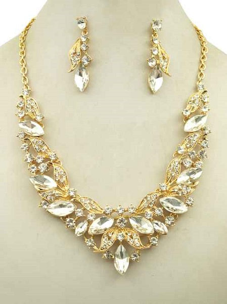 Clear Marquise Rhinestone Ivy Necklace Set in Gold Setting