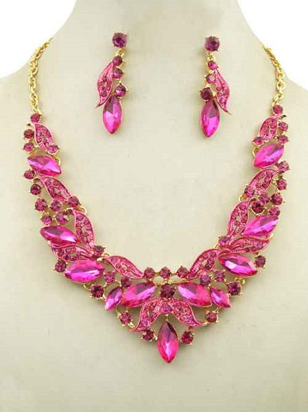 Pink Marquise Rhinestone Ivy Necklace Set in Gold Setting