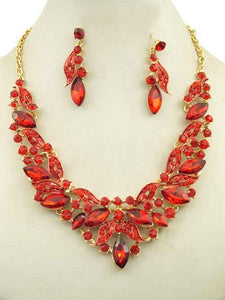 Red Marquise Rhinestone Ivy Necklace Set in Gold Setting