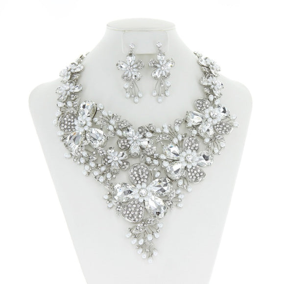 Clear Stone and White Pearl Floral Rhinestone Formal Necklace Set in Silver Setting ( 296 )