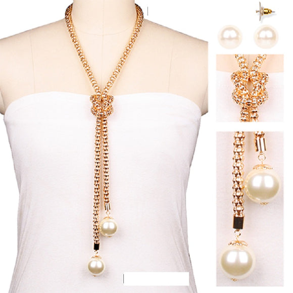 LONG GOLD NECKLACE SET WITH CREAM PEARLS ( 006 )