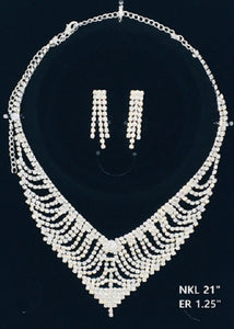 Silver Clear Rhinestone Formal Necklace Set ( NER27 )