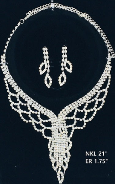 Silver Clear Rhinestone Drop Formal Necklace Set ( NER30 )