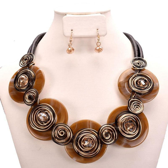 BLACK COPPER LEATHER CHORD NECKLACE SET ( 10524 CP )