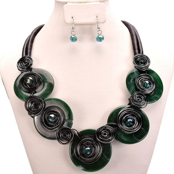 BLACK GREEN LEATHER CHORD NECKLACE SET ( 10524 GR )