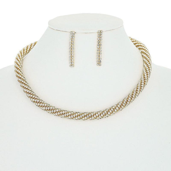 GOLD CLEAR RHINESTONE TWISTED NECKLACE SET ( 10563 G )