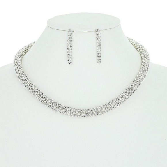 SILVER CLEAR RHINESTONE TWISTED NECKLACE SET ( 10563 S )